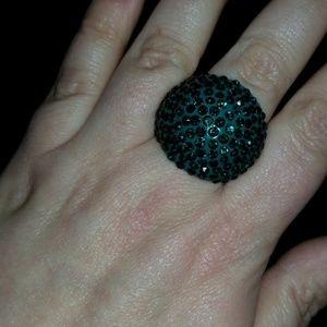 Huge Emerald Green Cubic Zirconia Ring